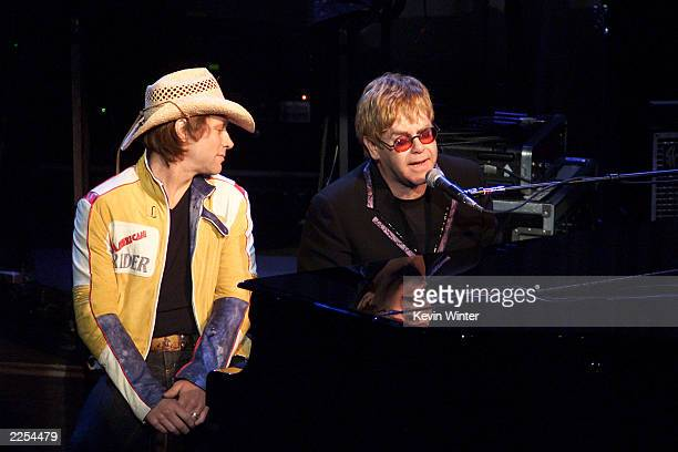 Elton John and Jon Bon Jovi at The Concert20 Years With AIDS at the Universal Amphitheater in Los Angeles to benefit the Elton John AIDS Foundation...