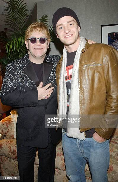 Elton John and Justin Timberlake backstage after previewing Elton's new video This Train Doesn't Stop Here Anymore which Justin Timberlake plays a...
