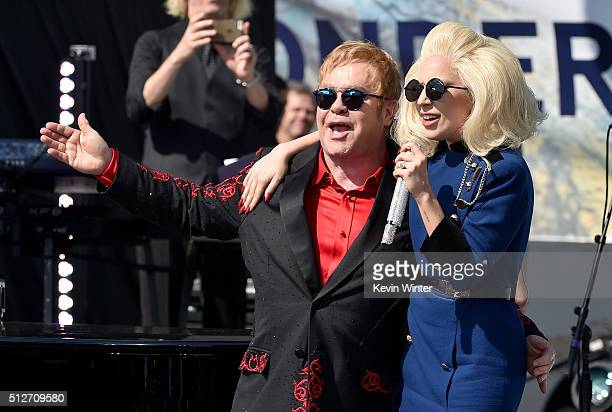 Elton John and Lady Gaga perform live on the Sunset Strip on February 27 as a thank you to the City of West Hollywood for their support of the Elton...
