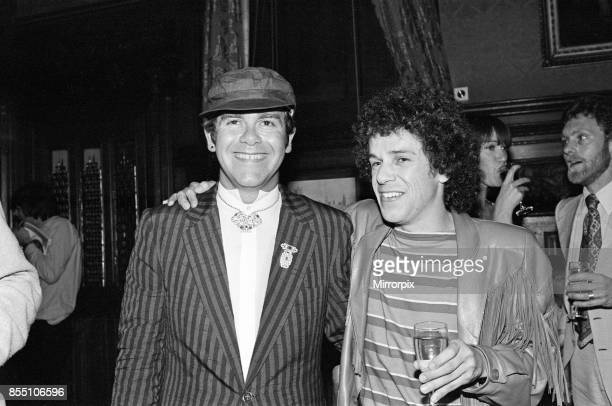 Elton John and Leo Sayer attending a House of Commons reception, invited along with other pop stars by the Minister for the Arts , Norman St...