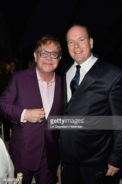 Elton John and Prince Albert II of Monaco attend the Dinner Auction during The Leonardo DiCaprio Foundation 2nd Annual SaintTropez Gala at Domaine...
