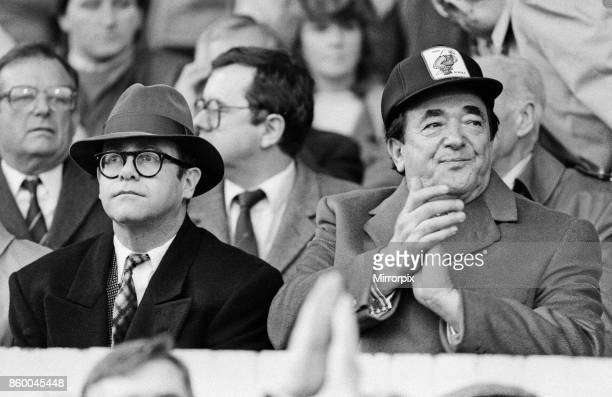 Elton John and Robert Maxwell watching the Oxford United v Watford football match Final score 11 League Division One Elton John had announced days...