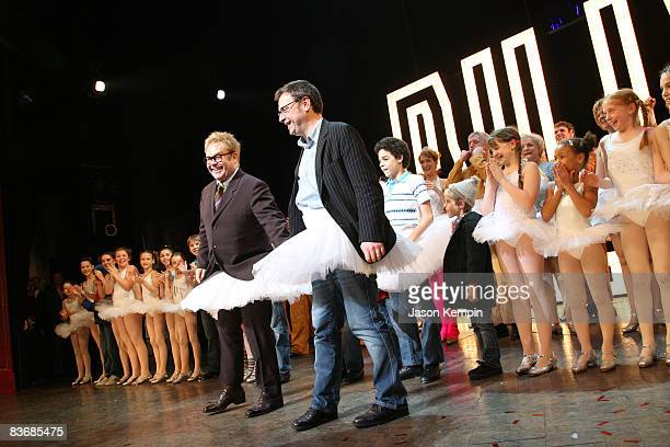 Elton John and Stephen Daldry attend the opening night curtain call for Billy Elliot The Musical on Broadway at the Imperial Theatre on November 13...
