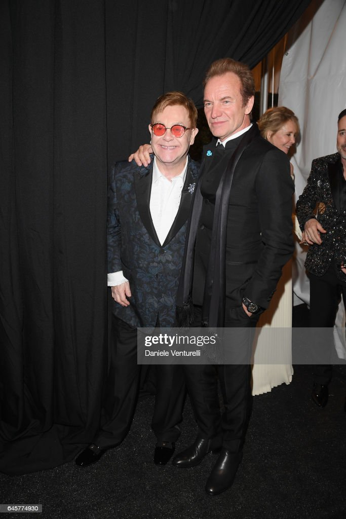 Elton John and Sting attend Bulgari at the 25th Annual Elton John AIDS Foundation's Academy Awards Viewing Party at on February 26, 2017 in Los Angeles, California.