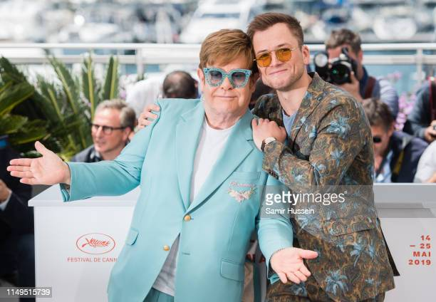 Elton John and Taron Egerton attend the photocall for Rocketman during the 72nd annual Cannes Film Festival on May 16 2019 in Cannes France