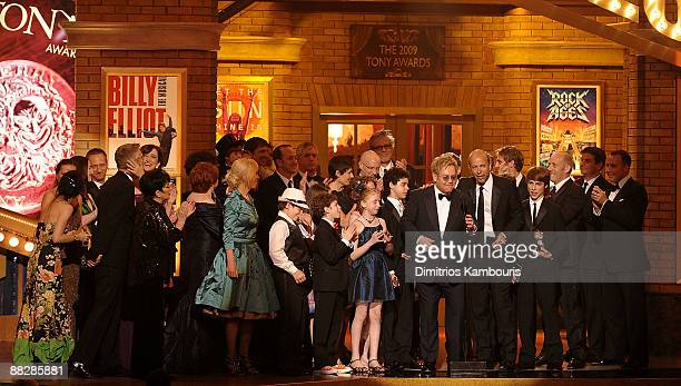 Elton John and the cast and crew of Billy Elliot accept an award on stage during the 63rd Annual Tony Awards at Radio City Music Hall on June 7 2009...