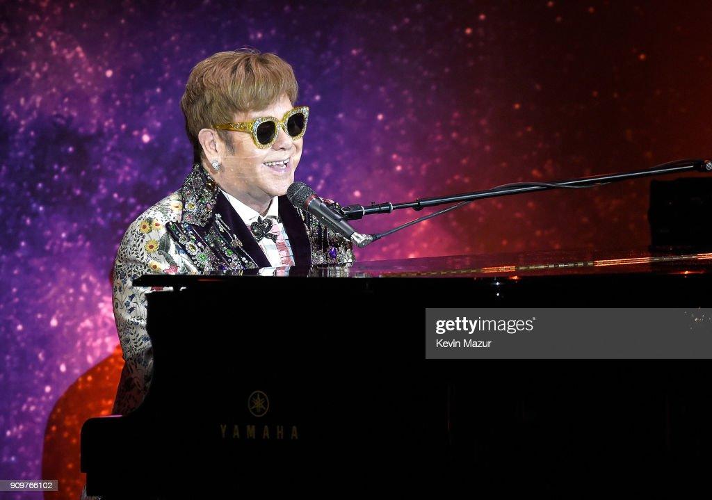 Elton John announces 'Farewell Yellow Brick Road' tour dates at Gotham Hall on January 24, 2018 in New York City.