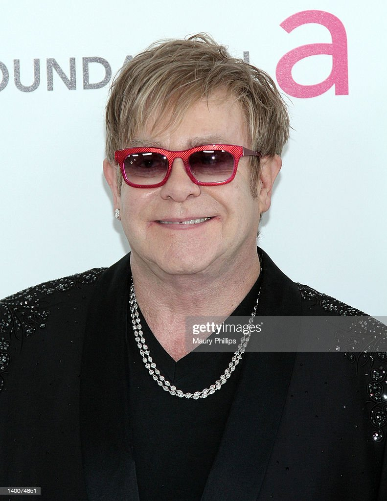 Elton John arrives at the 20th Annual Elton John AIDS Foundation Academy Awards Viewing Party at Pacific Design Center on February 26, 2012 in West Hollywood, California.