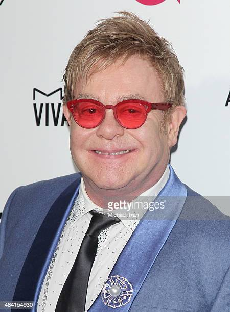 Elton John arrives at the 23rd Annual Elton John AIDS Foundation Academy Awards viewing party held at The City of West Hollywood Park on February 22...