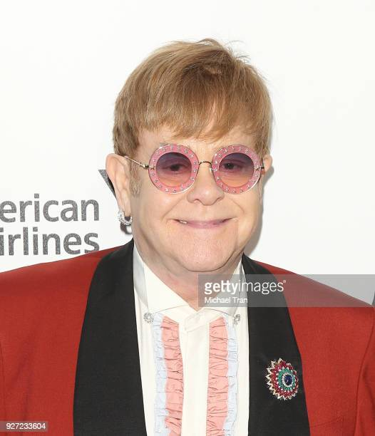 Elton John arrives to the 26th Annual Elton John AIDS Foundation's Academy Awards Viewing Party held at West Hollywood Park on March 4 2018 in West...