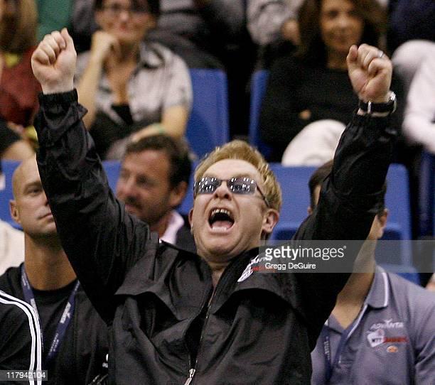 Elton John at the Advanta WTT Smash Hits tennis event at the Bren Center at UC Irvine in Irvine California on September 14 2006