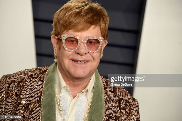 Elton John attends the 2019 Vanity Fair Oscar Party hosted by Radhika Jones at Wallis Annenberg Center for the Performing Arts on February 24 2019 in...