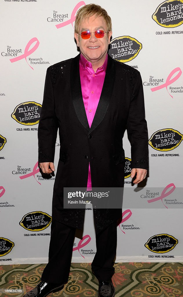 Elton John attends the Breast Cancer Foundation's Hot Pink Party at the Waldorf Astoria Hotel on April 17, 2013 in New York City.