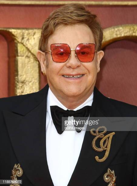 Elton John attends the European Premiere of Disney's The Lion King at the Odeon Luxe cinema Leicester Square in London