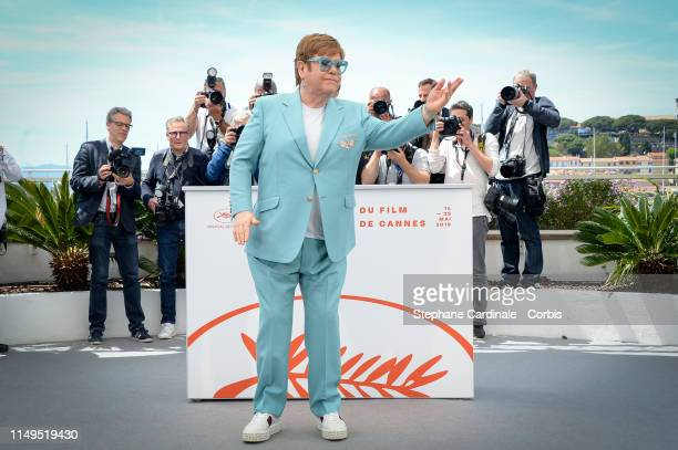 """Elton John attends the """"Rocketman"""" Photocall during the 72nd annual Cannes Film Festival on May 16, 2019 in Cannes, France."""