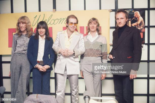 Elton John Band at press conference January 31 Tokyo Japan Elton John Dee Murray Davy Johnston Nigel Olsson Ray Cooper