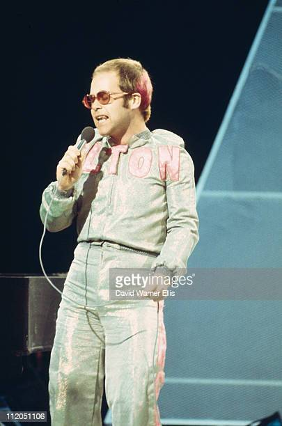 Elton John British singersongwriter performing live in concert circa 1973
