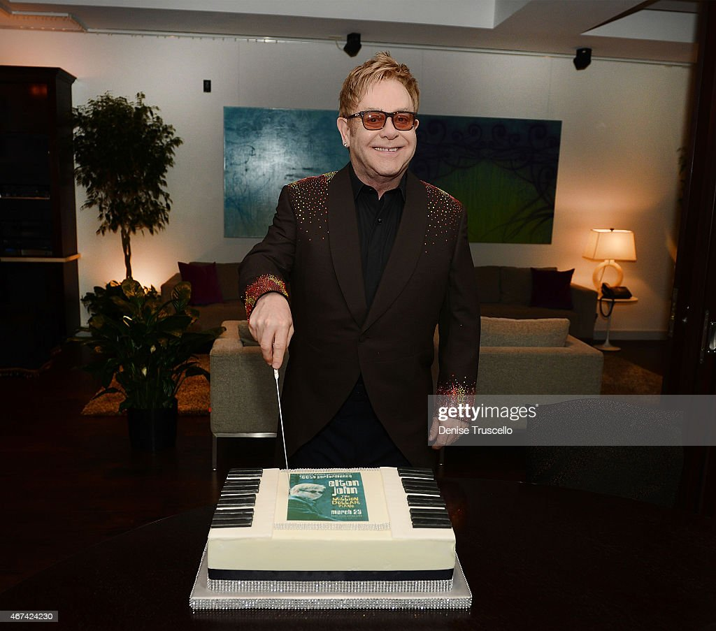 Elton John celebrates the 100th show of his show 'The Million Dollar Piano' at the Colosseum at Caesars Palace on March 23, 2015 in Las Vegas, Nevada.