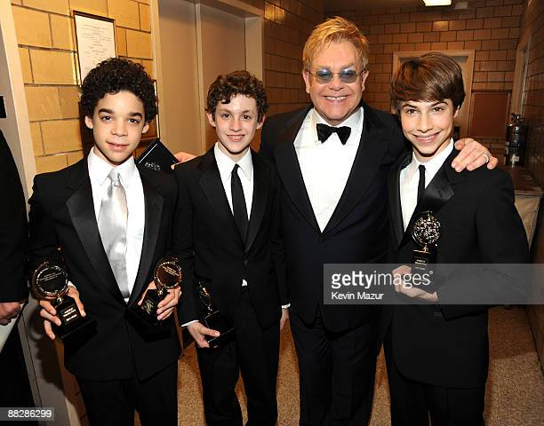 NEW YORK JUNE 07 *EXCLUSIVE* Elton John David Alvarez Trent Kowalik ad Kirl Kulish of Billy Elliot backstage at the 63rd Annual Tony Awards at Radio...