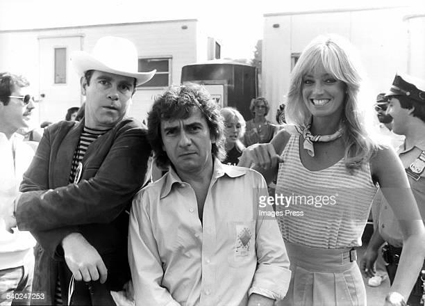 Elton John, Dudley Moore and Susan Anton circa 1980 in New York City.