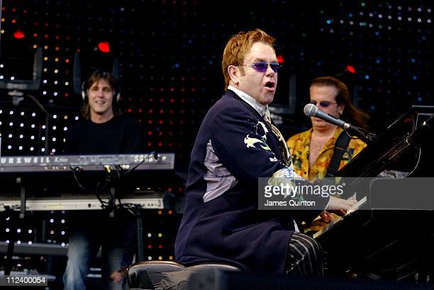 "Elton John during Elton John ""Let's Buy Back The Vic"" Fundraising Concert - June 18, 2005 at Vicarage Road Stadium in Watford, Great Britain."
