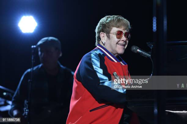 Elton John during rehearsals for THE 60TH ANNUAL GRAMMY AWARDS broadcast live on both coasts from New York City's Madison Square Garden on Sunday Jan...