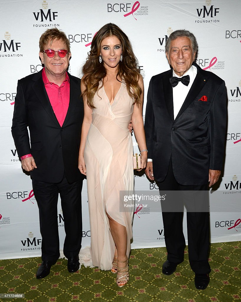 Elton John, Elizabeth Hurley and Tony Bennett attend Breast Cancer Research Foundation's Hot Pink Party: The Pink Standard at Waldorf Astoria Hotel on April 30, 2015 in New York City.