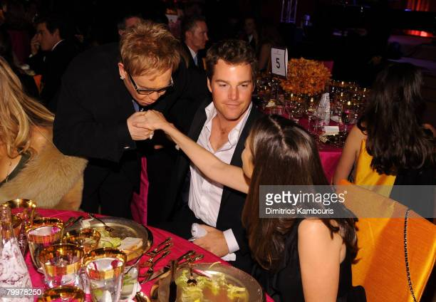 HOLLYWOOD FEBRUARY 24 Elton John greets actor Chris O'Donnell and Caroline Fentress at the 16th Annual Elton John AIDS Foundation Academy Awards...