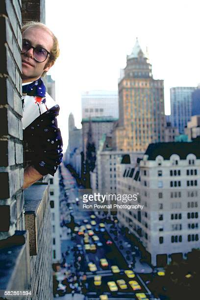 Elton John in the Elizabeth Taylor Suite SherryNetherland Hotel in NYC August 18 1976 Being interviewed by Cliff Jahr for Rolling Stone Magazine