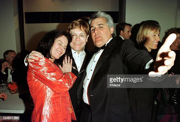 Elton John Jay Leno and his wife during The 72nd Annual Academy Awards Elton John AIDS Foundation InStyle Party in Los Angeles California United...