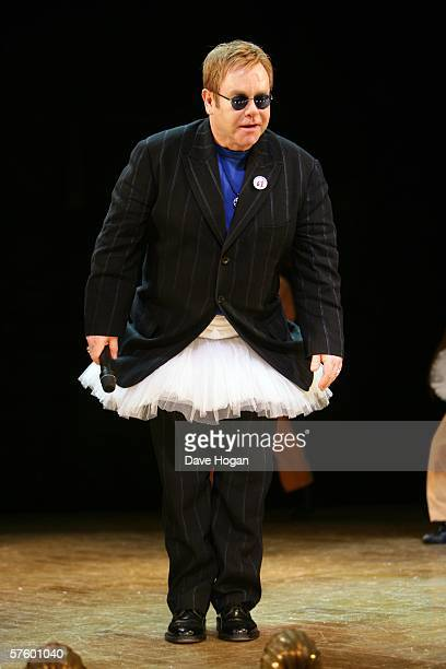 Elton John joins the cast of Billy Elliot the Musical on stage at Victoria Palace Theatre to celebrate the show's 1st Anniversary on May 12 2006 in...