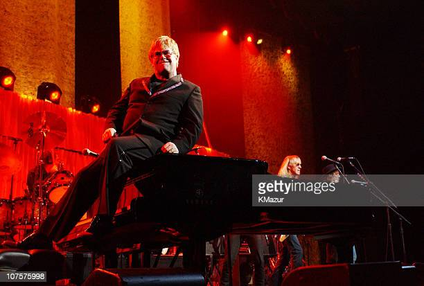 Elton John Jon Bon Jovi perform during Elton John Hosts The Concert20 Years with AIDS to benefit APLA Show at The Universal Amphitheater in Universal...