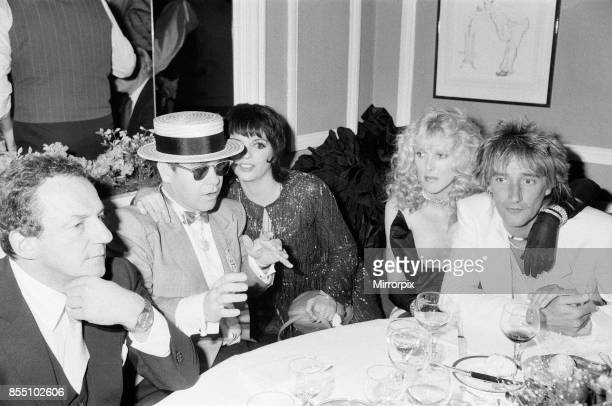 Elton John Liza Minnelli Alana Stewart and Rod Stewart pictured at the White Elephant to celebrate Liza Minnelli's opening night show in London 17th...