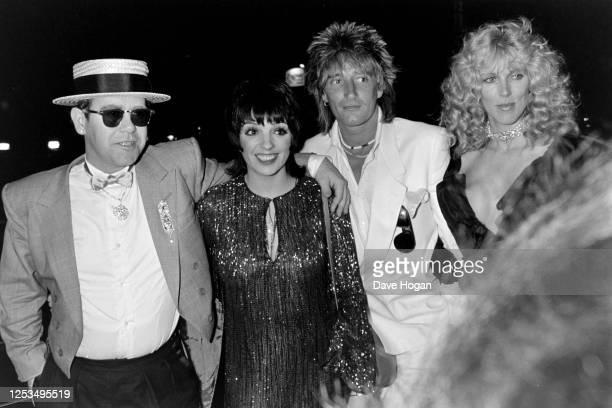 Elton John Liza Minnelli Rod Stewart and Alana Stewart in London circa 1985
