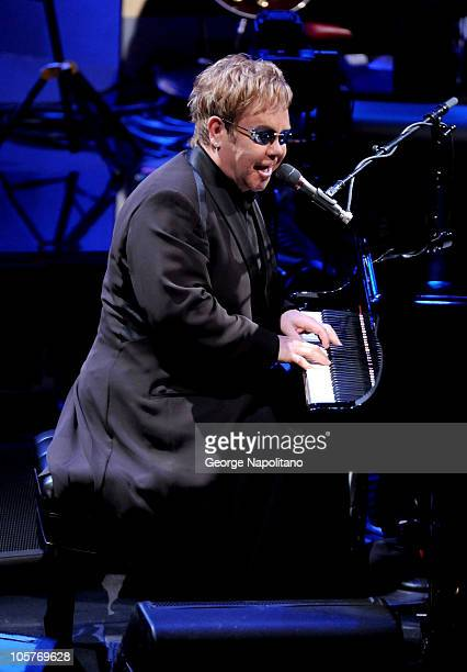 Elton John perform on ABC's Good Morning America at the Beacon Theatre on October 20 2010 in New York City