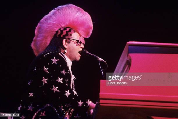 Elton John performing at Madison Square Garden in New York City on September 11 1986