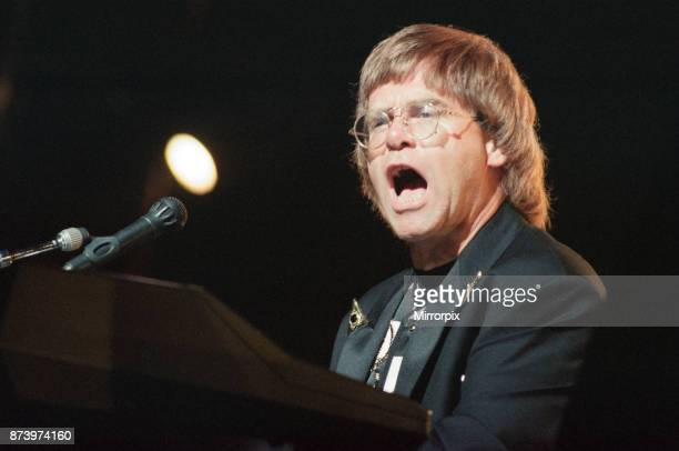 Elton John performing at the National Indoor Arena Birmingham during The One Tour 30th June 1992