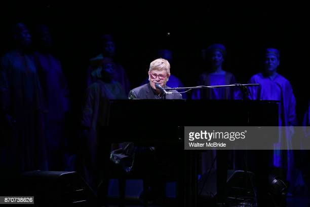 Elton John performing during the Curtain Call for 20th Anniversary Performance of 'The Lion King' on Broadway at The Minskoff Theatre on November e...