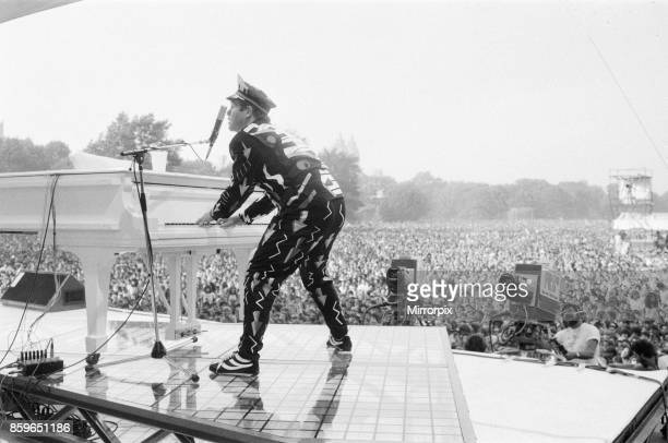 Elton John performing in Central Park, New York, America, Elton drew a huge crowd of over 400,000 to the free concert, With a set list of over 20...