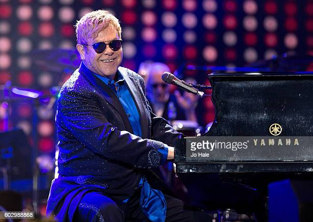 Elton John performs and headlines on stage at BBC R2 Live at Hyde Park on September 11 2016 in London England