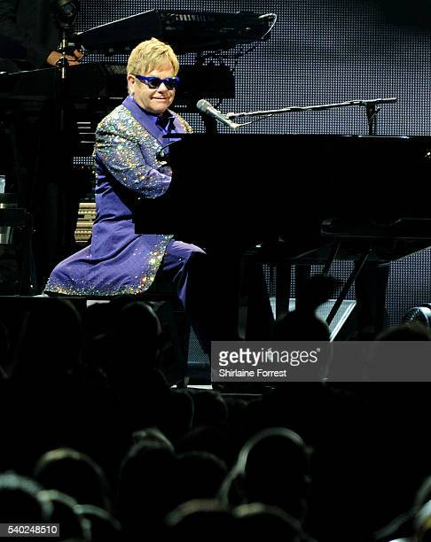 Elton John performs at Echo Arena on June 14, 2016 in Liverpool, England.