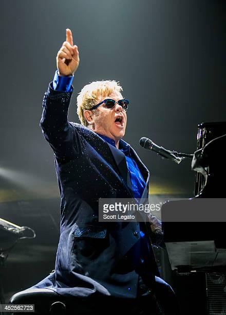Elton John performs at Joe Louis Arena on November 29 2013 in Detroit Michigan