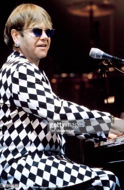 Elton John performs at Shoreline Amphitheatre on September 15 1995 in Mountain View California
