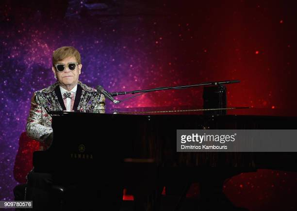 Elton John performs during the Elton John Special Announcement at Gotham Hall on January 24 2018 in New York City