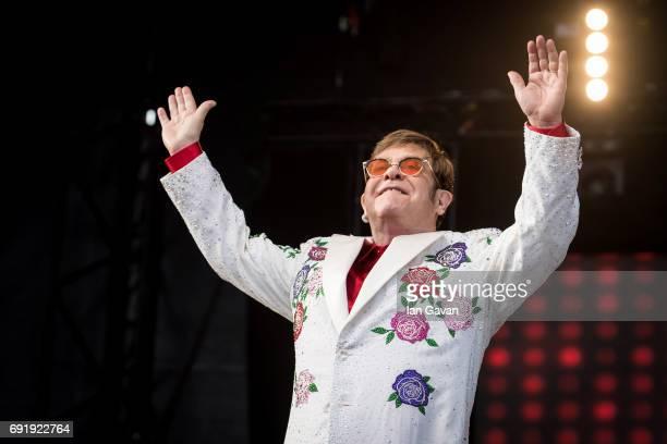 Elton John performs live at Twickenham Stoop on June 3, 2017 in London, England.