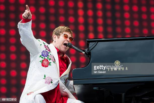 Elton John performs live at Twickenham Stoop on June 3 2017 in London England