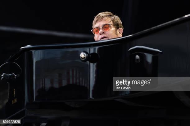 Elton John performs live at Twickenham Stoop on June 3 2017 in London England
