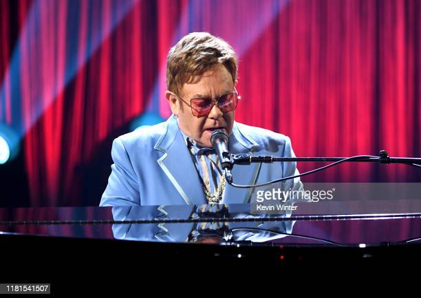 Elton John performs live on stage at iHeartRadio ICONS with Elton John Celebrating The Launch Of Elton John's Autobiography Me at the iHeartRadio...