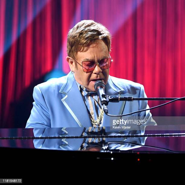 "Elton John performs live on stage at iHeartRadio ICONS with Elton John: Celebrating The Launch Of Elton John's Autobiography, ""Me"" at the iHeartRadio..."