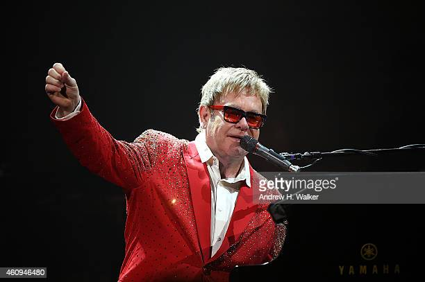 Elton John performs on Dick Clark's New Year's Rockin' Eve with Ryan Seacrest 2015 on December 31, 2014 in New York City.